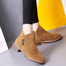 Woman Shoes Boots Australia - Ladies Shoes Spring Autumn New Martin Boots Retro Mid Heels Ankle Boots Women England Style Nubuck Leather Shoes Plus Size Botas