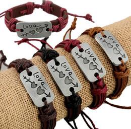 Cheap Men Jewelry Sets Australia - New Lovers Bracelet Charm One Arrow Double Heart Genuine Leather Weaving Bracelet Fashion Cheap Couple Jewelry For Men Women Friendship Gift
