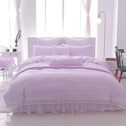 $enCountryForm.capitalKeyWord Australia - White pink princess korea style Bedding Set Twin Queen King size lace cotton bed linen sheet Duvet Cover pillowcase
