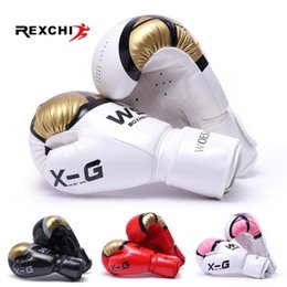 free muay thai gear Australia - REXCHI Kick Boxing Gloves for Men Women PU Karate Muay Thai Guantes De Boxeo Free Fight MMA Sanda Training Adults Kids Equipment T191226