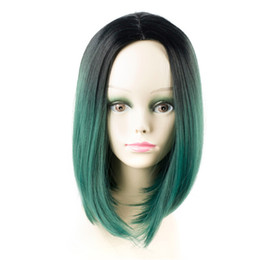 Color Bob Wigs UK - 12inch Short Bob Style Wigs Ombre color Straight Hair High Temperature Fiber Cosplay Wigs For Women 5 colors