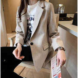 Office blazers online shopping - Retro double breasted office ladies plaid suit jacket long sleeved loose British style suit jacket ladies fem