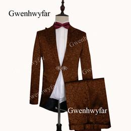 Elegant Suit For Party Australia - Gwenhwyfar Formal Brown Mens Dinner Party Prom Suit Groom Tuxedos Groomsmen Wedding Blazer Suits For Men Elegant (Jacket+Pants)