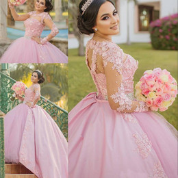 masquerade ball long gowns Australia - Pink Sweet 16 Masquerade Quinceanera Dresses 2018 Ball Gown Vintage Lace Long Sleeves 3D Floral Vestidos 15 Anos Plus Size Pageant Prom Gown