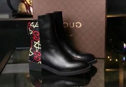 $enCountryForm.capitalKeyWord Australia - 2019 Top Quality Letter embossing Zipper Short Boots Black Genuine Cowhide Leather Fashion Woman Graffiti Boots With Box