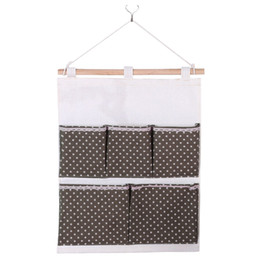 Discount hanged pockets Keys Kitchen Door Packing Cotton Linen Storage Bag Closet Pouch Bedroom Cosmetics 5 Pockets Wall Hanging Dots Printed Or