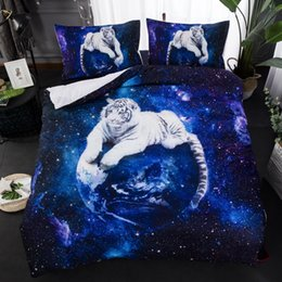 Wholesale BEST WENSD Drop Shipping tiger bed sets bedding western luxury bedding Animal Set for Girls Boys blue duvet cover set