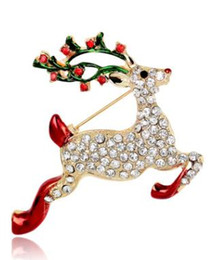 wholesale rhinestone brooches Australia - Christmas Gifts Sika Deer Crystal Diamond Pearl Brooch Alloy Rhinestone Female Fashion Animal Sweater Pin Creative Diamond Embossed Corsage