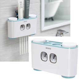 Dispenser Nails Australia - Automatic Toothpaste Dispenser Dust-proof Toothbrush Holder With Cups No Nail Wall Mount Stand Shelf Bathroom Organizer Set Q190529