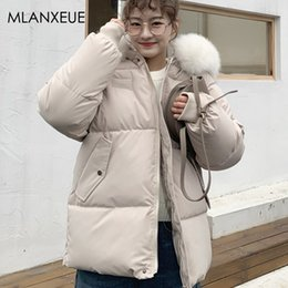 women korean winter parka coat Australia - Elegant White Fur Collar Parka Coat Women Winter Korean Hooded Oversize Thick Cotton Coats Ladies Casual Vogue Parkas Office Top SH190930