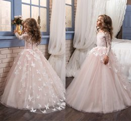 Wholesale 2019 Hot Sale Lovely Blush Pink Long Sleeve Lace Flower Girl Gowns Jewel Neck Buttons Back D Flower Overlay Skirt Party Dresses
