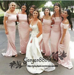 Evening Dresses For Weddings Cheap Australia - 2019 elegant Pink Mermaid Sheath Off Shoulder Bridesmaid Dresses For Summer Weddings Bohemian Beach Wedding Guest Party cheap Evening Gowns