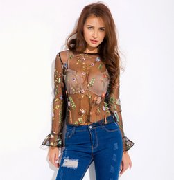 $enCountryForm.capitalKeyWord UK - 5pcs lot European and American Sexy Perspective Lace Blouse Flower embroidery Sexy Shirt For Night Club Attractive Shirt S-XL HNY140