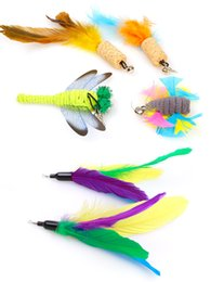 wholesale toys fishing UK - Cat toy funny cat stick replacement head color feather fishing rod flying fish feather funny cat stick replacement head 20 optional