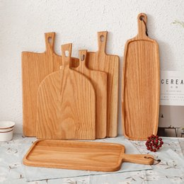 Wholesale boards online – design Squre Kitchen Chopping Block Wood Home Cutting Board Cake Sushi Plate Serving Trays Bread Dish Fruit Plate Sushi Tray Steak Tray DBC VT1611