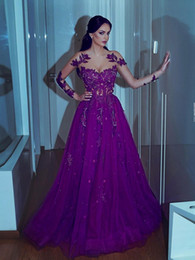 $enCountryForm.capitalKeyWord NZ - Sweetheart A-line Appliques Long-sleeves Purple Mermaid Prom Dresses Charming jewel Floor Length Arabian Evening Gowns robe de soiree