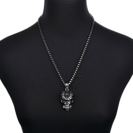 Necklaces Pendants Australia - 2019 New Punk Men Biker Motorcycle Style Black Stainless Steel Skull Pendants Necklaces Charm Jewelry Party Gift N1261