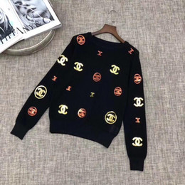 Black Sequin Sweaters Australia - High End Designer 2019 White Black Long Sleeves Hollow Out Women's Sweaters Logo Print Sequins Knitting Women's Knits And Tees 7289392