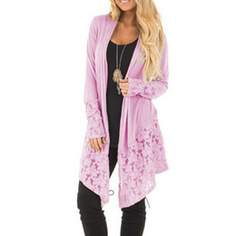 Wholesale pink oversized sweater resale online - Women Early Autumn Baggy Cardigan Sweater Coat Lace Patchwork Knitted Oversized Tops Plus Size New