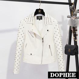 $enCountryForm.capitalKeyWord Australia - Luxury Embroidered Leather Jacket Women New Spring and Autumn Short PU Leather Coat Slim Motorcycle Jackets Plus Size Pu Coat