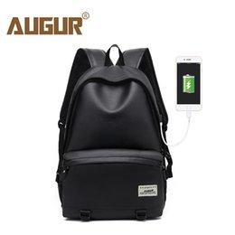 $enCountryForm.capitalKeyWord Australia - Augur Men Backpacks Pu Leather Usb Charging Travel Waterproof 15.6 Inch Laptop Back Pack Teenager Student School Bagpack Women Y19061102