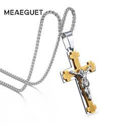 Vintage Jesus Pendant Australia - endant necklace Meaeguet 2 In1 Catholic Jesus Cross Pendant Necklace Men's Crucifix Jewelry Stainless Steel Vintage Necklaces For Male 24...