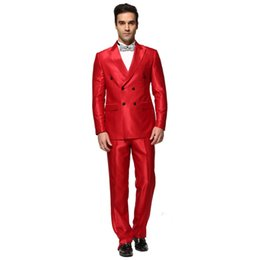 $enCountryForm.capitalKeyWord Australia - Men Suit New Shiny Red Double Breasted Men's Business Wedding Suits Party Tuxedo Costume Homme Mariage Suits (Jacket+Pants) B837