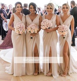 Front Slit Wedding Gowns Australia - 2019 New Champagne Bridesmaid Dresses Chiffon Deep V Neck Front Side Slit High Split Plus Size Maid of Honor Gown Wedding Guest Dress