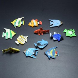 mini toys animals Canada - 12 Styles imitation Ocean Fish pvc toys 2.5cm Ornamental Fish mini models prank props holloween kids gifts ocean animals toys