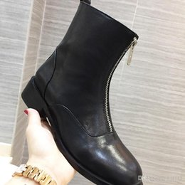 Thick velveT heels online shopping - 2019 Autumn And Winter Models Of High heeled Ankle Boots Womens Plus Velvet Boots Front Zipper Thick Leather Martin Boots Outdoor Female