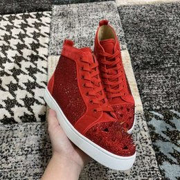 sneakers bag Canada - Red Suede Leather & Pik Pik Spikes & Strass Red Bottom Sneakers For Women,Men Leisure Top quality High Top Casual Walking With Box,Dust Bag