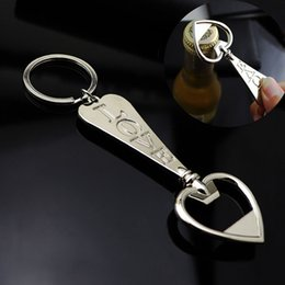 $enCountryForm.capitalKeyWord NZ - Creative metal bottle opener love key ring pendant Valentine's day key chain small gifts custom LOGO laser carved keychains D113