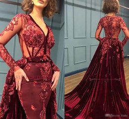 Spring Women Velvet NZ - 2019 New Burgundy Velvet Mermaid Prom Dresses Long Sleeves Deep V Neck Lace Beads Evening Dresses Formal Women Party Gown