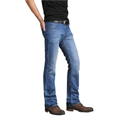 China Mens Spring 2019 Summer Flared Jeans Thin Denim Pants Slim Slightly Flare Trousers Boot Cut Fit Jeans Trousers Business Casual cheap mens thin summer trousers casual suppliers