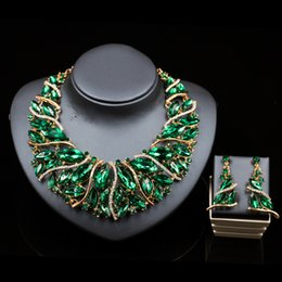 Wholesale Quick selling explosive European American and African color exaggerated bride necklace earrings suits alloy jewelry in large stock
