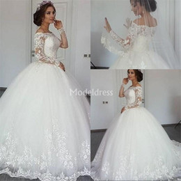 church ball gown wedding dresses Australia - Charming Lace Wedding Dresses Illusion Long Sleeves Sweep Train Ball Gown Garden Church Vestidoe De Noiva Elegant Castle Chapel Bridal Gowns