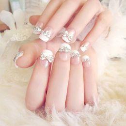 $enCountryForm.capitalKeyWord Australia - 24 Pcs set 3d Fake Nails With Glue Wedding Bride Full Nail Tips Middle-long Cute French False me88