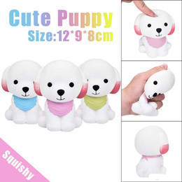 Wholesale Scarf Dog Squishy Jumbo Elastic Cute Soft PU Squishy Cream Dog Slow Rising Anti stress Kawaii Squeeze Doll Decompression Kids Novelty Toys
