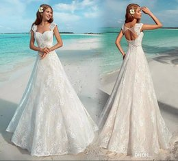 Wedding Make Up Images Australia - New Elegant Summer Beach Wedding Dresses Vintage Full Lace Cap Sleeve Sexy Open Back Lace Up Bridal Gowns Cheap Custom Made