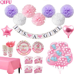 wholesale christening decorations UK - QIFU Its a Girl Its a Boy Banner Balloon Baby Shower Girl Decor Christening Decoration Birthday Party Decor Baptism Babyshower