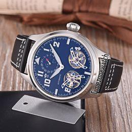 Discount double tourbillon watch - New G5 Grande Montre d'Aviateur Double Tourbillon Black Dial 1736 Moon Phase Automatic Mens Watch Steel Case Leathe
