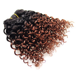 China Wholesale Sew In Human Hair Weave Ombre Hair T1b 33 Brazilian Kinky Curly Virgin Hair 8inch Curly Wave 4 Bundles Virgin Bob Wave cheap hair weaving sewing machine suppliers