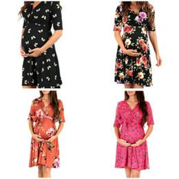 $enCountryForm.capitalKeyWord Australia - 2019 New Pregnant Women Print Flower Chiffon Nursing Dress Plus Size Pregnancy Clothes Maternity Flare Sleeve Beach Dress