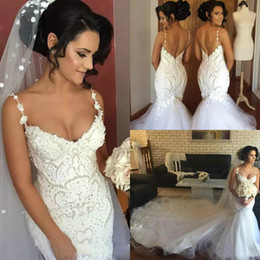 Discount chic model - Chic Beaded Spaghetti Straps Mermaid Wedding Dresses 2019 Buttons Sexy Back Long Sweep Tulle Bridal Wedding Trumpet Gown