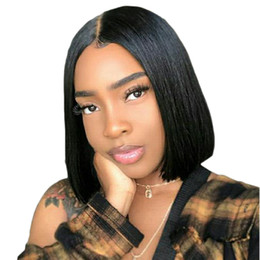 $enCountryForm.capitalKeyWord UK - Short Lace Front Human Hair Wigs Bob Wig Full and Thick For Black Women Natural Color Brazilian Remy Hair 150% Density