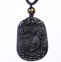Carved Jade Red Pendants Australia - Fashion Jewelry Genuine Natural Obsidian Black Chinese Carved Zodiac Lucky Rooster Amulet Pendant Necklace Beads