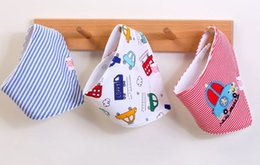 Snap Cartoon Australia - 3PCS Lot Baby Triangle Towel Cotton Double-layer Cartoon Saliva Towel New Arrival Waterproof Snap Button Bib