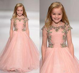 Wedding Tutus Australia - Blush Pink Ball Gown Tutu Crystals Beaded Layer Ruffles 2019 Short Sleeve Girl's Pageant Dress Kids Formal Wear Wedding Flower Girl Dresses