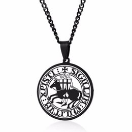 pewter pendant wholesalers Australia - EXOTICDREAM SEAL OF THE KNIGHTS TEMPLAR MEDIEVAL ARMS AMULET MEDALLION PEWTER PENDANT NECKLACE FOR MEN JEWELRY