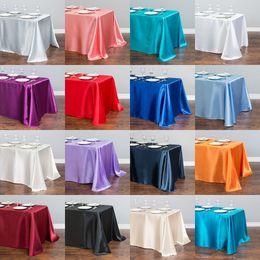 $enCountryForm.capitalKeyWord Australia - White Satin Table Cloth 140cmx250cm Rectangle Table Cover Decorative Tableclothes For Wedding Event Party Hotel Decoration